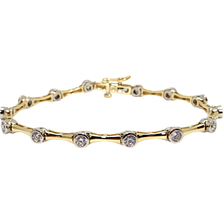 "14k Yellow White Gold 1.54ct Round Cut Diamond Tennis Bezel Link Bracelet 7"""