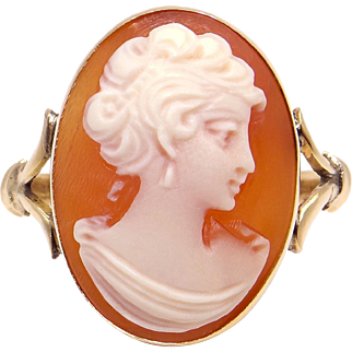18k Yellow Gold Oval Shaped Carved Woman Profile Shell Cameo Ring Size 6