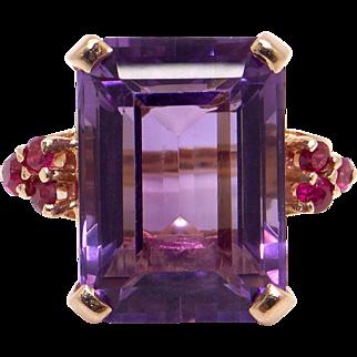 Retro 14k Yellow Gold 15ct Emerald Cut Amethyst Ruby Ring Size 6 1/2
