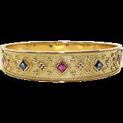 Etruscan Style 18k Yellow Gold 1.25ct Princess Cut Ruby Sapphire Cuff Bangle Bracelet