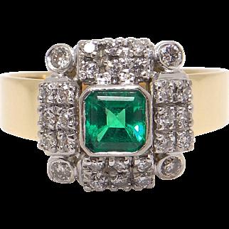 Unique 18k Yellow White Gold 0.96ct Princess Cut Emerald Diamond Halo Ring