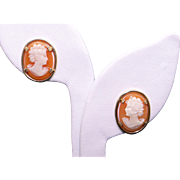 14k Yellow Gold Shell Cameo Portrait Button Stud Earrings with Screw Back Non Pierced