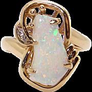 14k Yellow Gold 4ct Odd Shaped Cabochon Multi Color Opal Diamond Band Ring 8.25