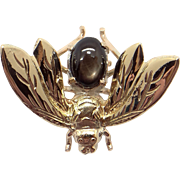 14k Yellow Gold 1ct Cabochon Black Star Sapphire Bumble Bee Bug Fly Brooch Pin