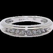 Keepsake 14k White Gold Round Cut Diamond 4mm Wedding Band Ring Size 7