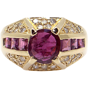 Fantastic 18k Yellow Gold 2ct Round Princess Cut Ruby Diamond Cluster Band Ring Size 7.75