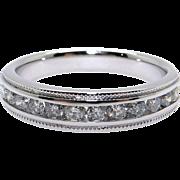 14k White Gold .50ct Round Cut Diamond 4.5mm Channel Milgrain Wedding Band Ring Size 7