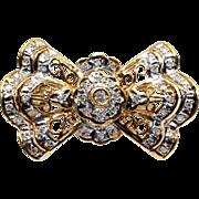 Fantastic 14k Yellow Gold .25ct Round Diamond Bow Ribbon Pearl Bead Enhancer Clasp