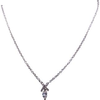 14k White Gold .71ct Marquise Round Diamond Dangle Drop Pendant Necklace 18""