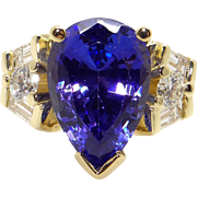Atelier 18k Yellow Gold 7.16ct Pear Shape Tanzanite Diamond Cluster Ring Sz 6