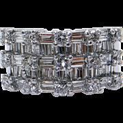 Dazzling 18k White Gold 2.19ct Round Baguette Diamond Wedding Anniversary Band Ring G VS