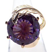 Awesome 14k Yellow Gold 12ct Round Brilliant Synthetic Alexandrite Solitaire Ring Size 7
