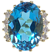 Amazing 14k Yellow Gold 14ct Oval Cut Blue Topaz Diamond Cocktail Cluster Ring Size 7.5