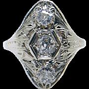 Art Deco 18k White Gold Filigree .65ct Round European Cut Diamond Band Ring Sz 8