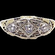 Art Deco 14k Yellow White Gold .30ct Round European Cut Diamond Three Stone Filigree Ring Size 7.5