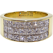 Gorgeous LeVian 18k Yellow Gold 2ct Princess Cut Diamond 9mm Wide Band Ring Size 8