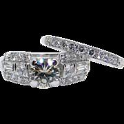 Retro Platinum Round Cut 1.70ct Diamond Engagement Ring Wedding Band Bridal Set Size 8