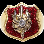 Mens 22k Yellow Red Enamel Cubic Zirconia Fireman Police Badge Band Ring Size 10