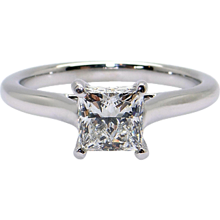 Spectacular GIA Certified Platinum 1.06ct Princess Cut Diamond Solitaire Engagement Ring Size 6.25