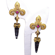 Spectacular 18k Gold Moonstone Agate Pink Tourmaline Fleur De Lis Bullet Chandelier Earrings