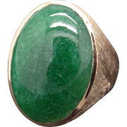 Stunning Mens 14k Yellow Gold 18ct Cabochon Green Moss Agate Solitaire Band Ring size 10.5