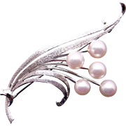 Mikimoto Sterling Silver 6mm Round White Cultured Pearl Leaf Flower Vine Brooch Pin