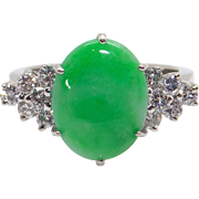 Beautiful 14k White Gold .48ct Diamond & Oval Green Jade Cluster Ring Size 6.5