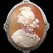 Beautiful Vintage 14k White Gold Carved Cameo Portrait Filigree Pin Pendant