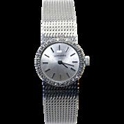 Ladies 14k White Gold Longines Wittnauer Round Diamond Bezel Mesh Bracelet Watch Quartz Battery
