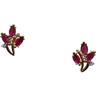 14k Yellow Gold 1.24ct Marquise Shape Ruby and Diamond Cluster Stud Earrings