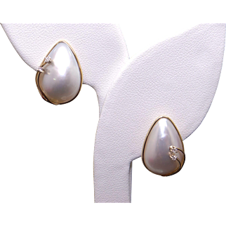 Amazing 14k Yellow Gold 18.5mm Mabe Cultured Pearl Round Diamond Cluster Stud Earrings
