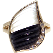 Amazing 14k Yellow Gold Mother Pearl & Onyx Diamond Ring Size 10.25