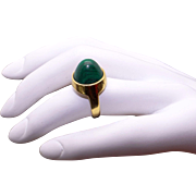 Unique 18k Yellow Gold Green Malachite Bullet Solitaire Dome Band Ring Size 6