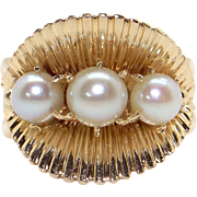 Retro 14k Yellow Gold 5mm Round White Cultured Pearl Clam Shell Cluster Band Ring Size 5.75