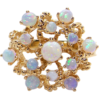 14k Yellow Gold Multi Color Round Opal Flower Cocktail Cluster Ring Size 8.5