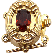 14k Yellow Gold .30ct Oval Cut Garnet Slide Bracelet Charm Clasp