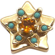 14k Yellow Gold .25ct Round Citrine Turquoise Star Slide Bracelet Charm