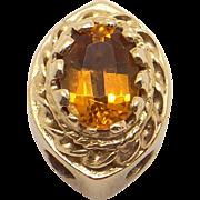 14k Yellow Gold .60ct Oval Cut Citrine Slide Bracelet Charm