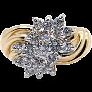 Fantastic 14k Yellow White Gold .75ct Round Diamond 13mm Swirl Cluster Ring Size 6.5