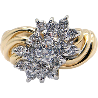 Fantastic 14k Yellow White Gold .75ct Round Diamond 13mm Swirl Cluster Ring Size 6.5