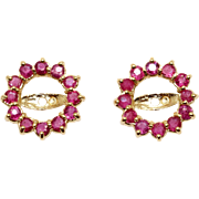 14k Yellow Gold .75ct Round Cut Ruby Flower Snowflake Stud Earring Jackets