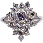 Vintage 14k White Gold .88ct Round Cut Diamond Cluster Ring Size 6.5