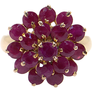 14k Yellow Gold 3ct Round Cut Ruby Cluster Flower Band Ring Size 7