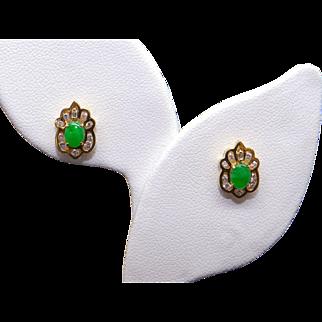14k Yellow Gold .40ct Round Diamond Green Jade Cluster Stud Earrings