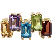 Mother's 10k Yellow Gold 2.50ct Emerald Cut Amethyst Citrine Peridot Topaz Garnet Ring Size 8
