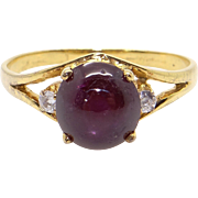 14k Yellow Gold 2.56ct Cabochon Ruby Diamond Dome Cluster Band Ring Size 6.75