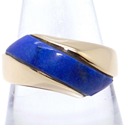 14k Yellow Gold Blue Lapis Band Wave Dome Ring Size 6.75