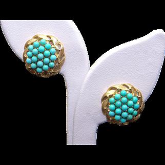 Beautiful 18k Yellow Gold Turquoise Cluster Button Swirl Stud Flower Earrings Non Pierced