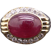Handsome Mens 18k Yellow Gold 8ct Oval Cabochon Cut Ruby & Diamond Band Ring Size 10
