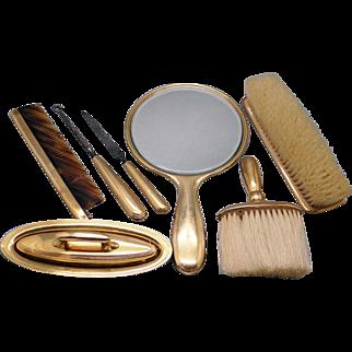 Vintage Tiffany & Co 18k Yellow Gold Vanity Dresser Grooming Set 7 Piece